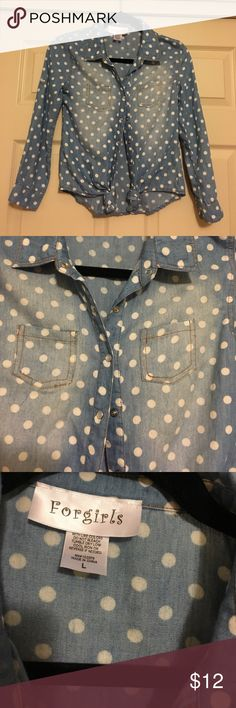 Forgirls washed out denim look top Long sleeve washed out look top with white polka dots- button down front and button at end of sleeve- size L forgirls Tops Button Down Shirts