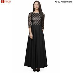 a2ebebe34f White and Black Color ReadyMade Rasal Net and American Crepe Gown  gowns   fashion