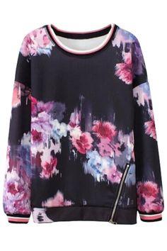 Purple Floral Print Round Neck Long Sleeve Zipper One Side Sweatshirt Sweat Dress, Blue Long Sleeve Tops, Printed Sweatshirts, Hoodies, Fashion Sweatshirts, Sweater Fashion, Women's Fashion, Lana, Floral Prints