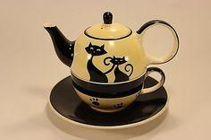 HUES N BREWS Siamese Cat Paw Prints Black Cream Coffee Teapot Cup Saucer 3 PC