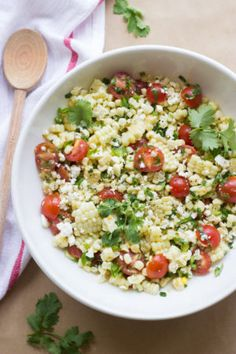 Summer sweet corn paired with juicy cherry tomatoes, fresh herbs, and feta is the ultimate side dish. Fresh, easy, and feeds a crowd in no time!