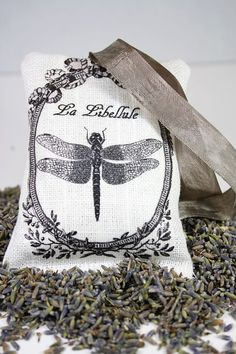 #Lavender #sachet with vintage #dragonfly image