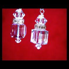 SS earwire Crystal Clear  Swarovski Cube Earrings. 10x10 mm or 8x8 mm Lustrous Crystal Clear or Crystal Moonlight Swarovski Crystals. Sterling Silver Leverback earwire . Swarovski Jewelry Earrings