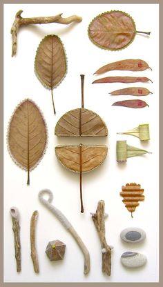 DIY art idea: embellished nature display by susanna bauer Land Art, Nature Collage, Collage Artwork, Embroidery Leaf, Leaf Crafts, Dry Leaf, Painted Leaves, Environmental Art, Textile Art
