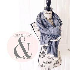 """Chambray & Lace Scarf This scarf has a light chambray fabric with a white colored lace trim, it's a pretty scarf fir winter or warmer weather months.  {actual color of item may vary slightly from photos}  •length:78"""" •width:about 22"""" wide, but scrunched    Material:99% cotton 1% elastane  ️machine wash  Condition:no rips no stains  ❌no holds ❌no trades ♥️️bundles of 3/more items get 20% off Accessories Scarves & Wraps"""