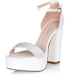 Cream Bridal Embellished Front Ankle Strap Block Heels