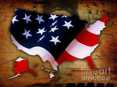 United States Of America Map Art by Marvin Blaine.