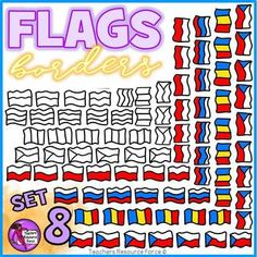 Get your hands on this unique set of hand drawn flag doodle borders!