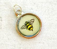 Bumble Bee Hand Painted Charm Original by TuckooandMooCow on Etsy, $16.00