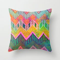 Tribal Chevron - Yellow Throw Pillow by Schatzi Brown