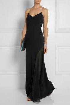 DKNY. Stretch silk georgette-paneled crepe maxi dress.