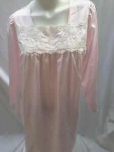 0fc2fde7805 Details about VTG 90 s INDULGENCE Brushed Satin   Lace Long Sleeve   Long  Nightgown SZ L