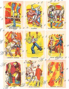 vintage circus cards acrobats trapeze artist juggler by artdeco, $3.00
