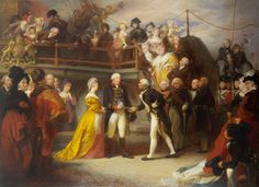 """This painting (by Henry Perronett Briggs, 1828) depicts the visit of King George III and Queen Charlotte to Lord Howe's flagship, the Queen Charlotte, on 24 June 1794. The visit was arranged to celebrate Howe's victory over the French off Ushant, known as the """"Glorious First of June"""". Note Pitt standing on the far left. Pitt's brother Chatham, then First Lord of the Admiralty, is immediately to the right of the chap in the red and gold pelisse."""