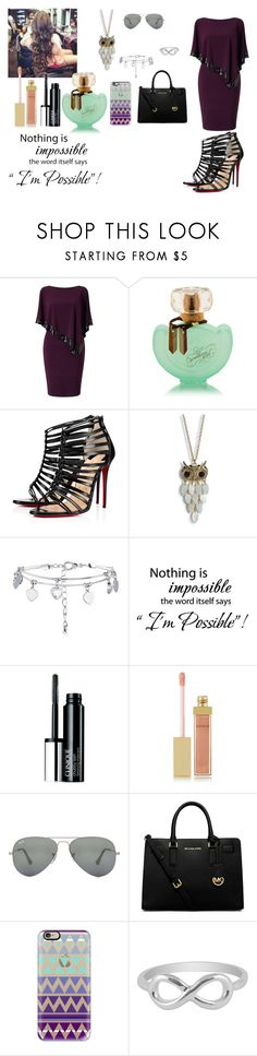 """""""//''I'M POSSIBLE''//"""" by mollysmodesty4god ❤ liked on Polyvore featuring Adrianna Papell, Christian Louboutin, Aéropostale, New Look, WALL, Clinique, AERIN, Ray-Ban, MICHAEL Michael Kors and Casetify"""