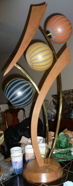 Mid-Century Modern Glass, Metal & Wood 3.5 feet tall working Table Lamp Lighting