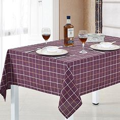 HOMEE Garden Home Tablecloth/Flax/ Plaid Table Cloth/ Table Cloth/Covering Cloth/ round Table ,A,90X90Cm(35X35Inch)