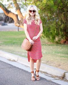 """1293b5a5ae Jess Lea Boutique on Instagram: """"How gorgeous is #styleblogger @hannahtovar  in the Abby Striped Midi Dress?! This is the perfect dress to just throw on  and ..."""