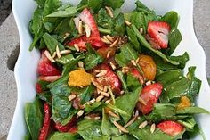 Favorite salad, strawberry-spinach with lemon dressing and brown sugar almonds Side Dishes Easy, Side Dish Recipes, New Recipes, Cooking Recipes, Favorite Recipes, Healthy Recipes, Amazing Recipes, Yummy Recipes, Yummy Food
