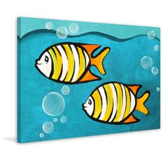 Marmont Hill - 'Two Fish' by Nicola Joyner Painting Print on Wrapped Canvas - Multi-color x Multicolor Cute Canvas Paintings, Easy Canvas Painting, Easy Paintings, Animal Paintings, Canvas Artwork, Painting Prints, Canvas Prints, Art Print, Summer Painting