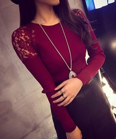Jewel Neck Long Sleeves Solid Color Lace Splicing Stylish Sweater