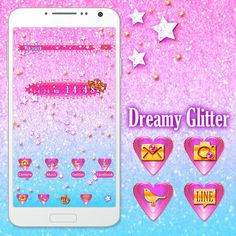 """""""Dreamy Glitter"""" Available From:4/26 '16 (EST) The colors and glitter make this a lovely theme for girls! http://app.android.atm-plushome.com/app.php/app/themeDetail?material_id=1462&rf=pinterest #cute #wallpaper #kawaii #design #icon #plushome #homescreen #widget #deco"""