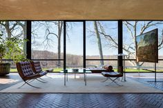 The Glass House by architect Philip Johnson in New Canaan, Connecticut  | Photo by James Ewing
