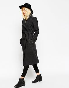 Image 4 of ASOS Coat With Funnel Neck And Belt
