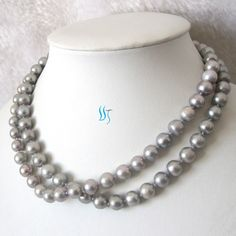 Pearl Necklace - 34 inches 9-10mm Silver Gray Freshwater Pearl Long Necklace - Free Shipping — for $28.00 USD from PearlsStory on Etsy.com [white gold plated clasp]