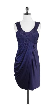 BCBG Deep Purple Draped Cocktail Dress