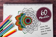 60 Mandala Tattoo & Coloring Page by Raftel on @creativemarket
