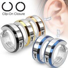 Earrings, Studs Surgical Steel Bevelled Edge Ip Huggie Hoop Fake Non Piercing Clip On Earrings Fake Piercing, Ear Piercings, Round Earrings, Clip On Earrings, Women's Earrings, Stainless Steel Earrings, Stainless Steel Chain, Lobe, Ear Studs