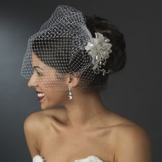 Birdcage Veil with Beaded Flower Bridal Comb