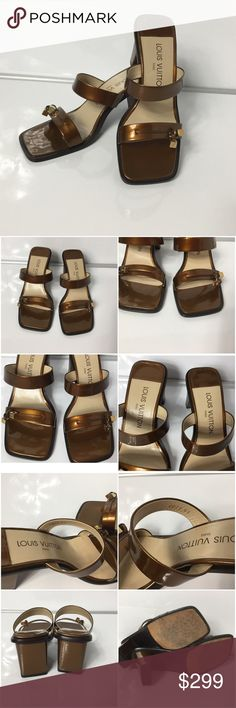 100%Authentic Louis Vuitton Patent Leather Sandals 100% Authentic Louis Vuitton Patent Leather Sandals  with Dust Bag.  Pre-Owned in very good used condition.  The feature an open toe, two band, and gold tone hardware. no smell. Show sign of wear.  MADE IN ITALY - DATE CODE GI0020 ( February 2000)  Please check all the pictures- in order to avoid unnecessary returns, 100% authentic or your money back. - no return sold as is-! Louis Vuitton Shoes Sandals