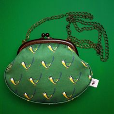Chickadee Handbag  #handbag #acessories #fashion #purse #bird #chickadee #green #divabara #design Brass Chain, Fabric Design, Hand Sewing, Eye Candy, Diva, Coin Purse, Purses, Wallet, Fashion