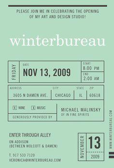 Invitation by Winterbureau / Veronica Corzo-Duchardt at http://winterbureau.com/winterbureau-invite