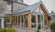 Kitchen Garden Extension, House Extension Plans, Cottage Extension, Building Extension, Rear Extension, Extension Ideas, Oak Framed Buildings, Timber Buildings, Oak Framed Extensions