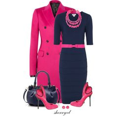 """Navy And Hot Pink Contest"" by sherryvl on Polyvore"