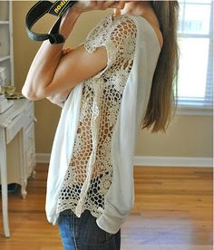I think i need Mary to make me one of these ;) DIY lace shirt