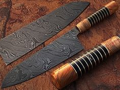 Custom Made Damascus Steel Chef Knife Olive Wood & by DamascusKing