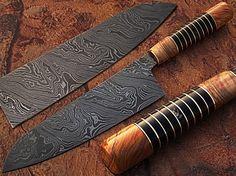 Custom Made Damascus Steel Chef Knife Olive Wood & by DamascusKing