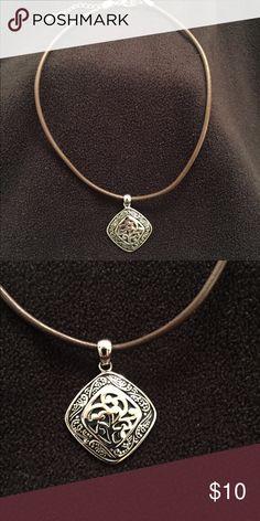 Lia Sophia necklace. Lia Sophia brown leather necklace with medallion Lia Sophia Jewelry Necklaces