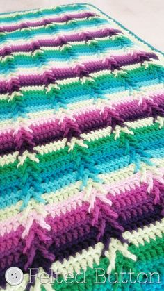 Basic Skills Necessary: Complete basic crochet stitches (US terms): sc, dc, tr (post stitches are detailed in the pattern) Read a crochet pattern in standard US crochet terms Pattern Description: With wonderful texture, an interesting but easy to repeat stitch pattern and color options galore, this blanket makes a perfect gift for baby or larger afghan for yourself. The 5 page detailed and thoroughly tested pattern includes: ~complete written pattern instructions in standard US terms ~mul...