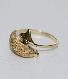 May Birthstone Emerald Vintage 10k Gold Dolphin by LadyLibertyGold
