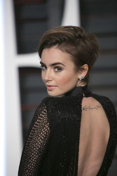 lily collins new short haircut