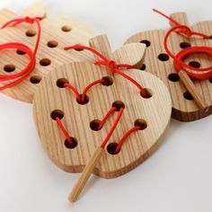Image of Wormy Apple! Wooden Lacing and Threading Toy