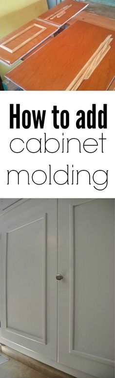How to add cabinet molding. Adds dimension to older kitchen cabinets! Great way to update your kitchen.