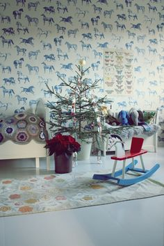 #kids #bedroom horses and butterflies and christmas