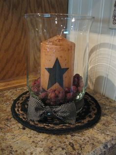 from the facebook page: Primitive Country Treasures hurricane with candle- make some out of the small ones I already have