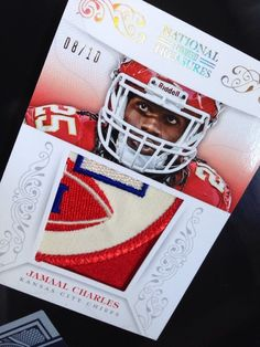 #JamaalCharles 2013 National Treasures 8/10 Sick GAME WORN #Chiefs Hunt Red Patch #LamarHunt #KansasCityChiefs #AlexSmith #AFC #NFL #Cowboys #DallasCowboys #GameWorn #Football #RelicCard #Panini #NationalTreasuresFootball   THIS IS A BAD ASS CARD, A PATCH WORN DURING THE 2013 HOME OPENER ON HIS JERSEY WHEN THEY BEAT THE DALLAS COWBOYS IN WEEK 2.  GAME WORN CARDS ARE 99% MORE RARE THAN ALL OTHER RELIC CARDS... THIS ONE IS LIMITED TO 10 PIECES FROM THAT GAME.
